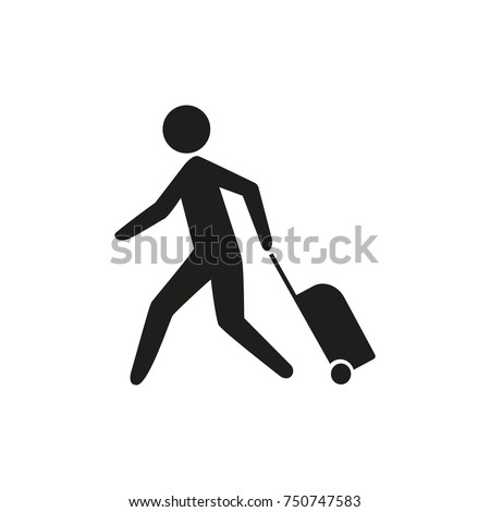 Passenger running to check-in counter icon