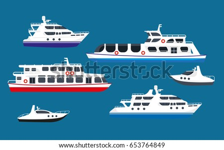 Passenger sea cruise liner ships, yachts marine transport boats vector flat icons