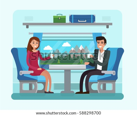 Passenger train inside. Man and woman seat in railway transport.  Flat style vector illustration.