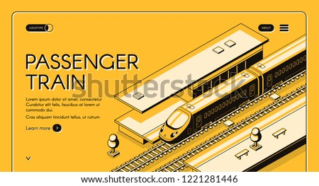 Passenger train isometric vector web banner. High-speed express train on railroad station, line art illustration. Tourism portal or travel agency site template. Railway transport company landing page