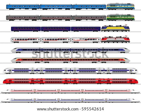 Passenger train. Railway carriage. set