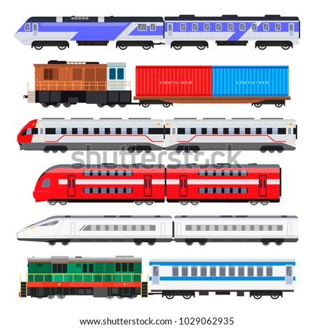 Passenger train set. Train people use for traveling, series of connected colorful railway carriages. Vector flat style cartoon illustration isolated on white background