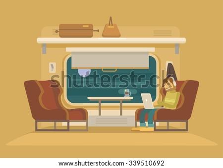 passenger train vector flat