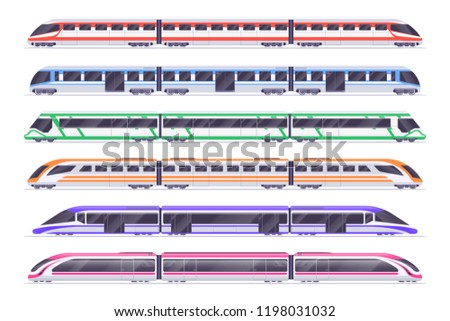 Passenger trains. Modern subway and railway train. City transportation vector set. Train and railway, transport passenger illustration