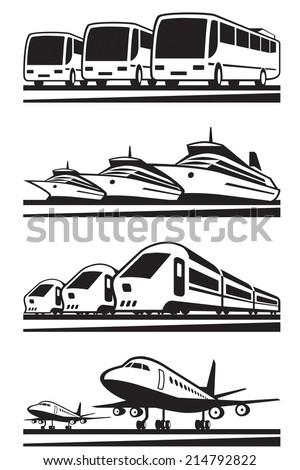 Passenger transportation vehicles vector illustration