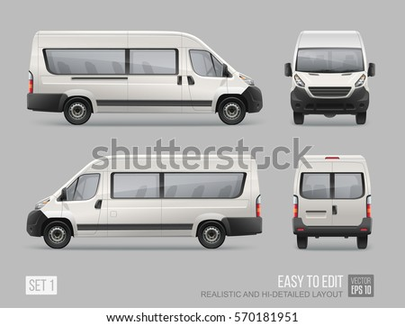 Passenger Van Mini Bus vector template for empty Mockup Advertising and Corporate identity on transport. Easy to edit layout  Realistic Passenger Car Isolated on grey background  Stock photo ©