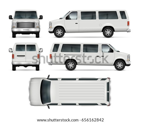 Passenger van vector template for car branding and advertising. Isolated mini bus on white. All layers and groups well organized for easy editing and recolor. View from side, front, back, top.