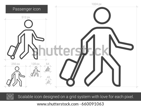 Passenger vector line icon isolated on white background. Passenger line icon for infographic, website or app. Scalable icon designed on a grid system.