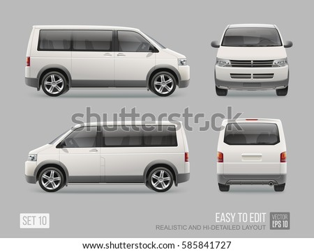 Passenger White Van Mini Bus vector template for Mockup Advertising and Brand identity on transport. Modern passenger transport . Easy to edit layout Realistic Van Vehicle Isolated on grey background