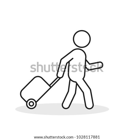 Passenger With Rolling Bag Line Icon. Vector isolated minimal outline symbol.