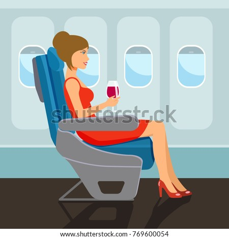 Passenger young beautiful girl character sitting in chair on the plane . Vector flat style illustration.