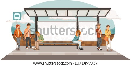Passengers at bus stop. Cartoon people waiting for bus.