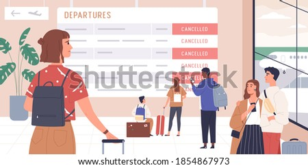Passengers disappointed with flight cancellation. People looking at schedule board with information about canceled flights in waiting hall of international airport. Colorful flat vector illustration