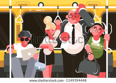 Passengers in subway car. Rush hour in public transport. Vector illustration
