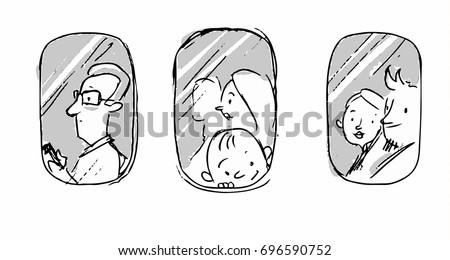 Passengers in the plane near the window outside view. Vector sketch for cartoon, projects, storyboard