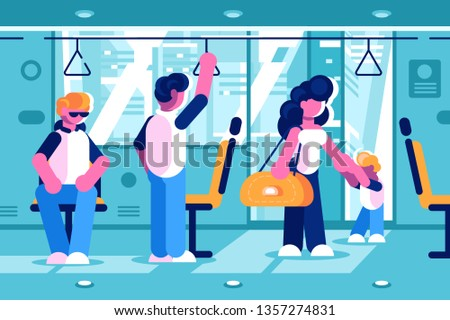 Passengers inside the bus vector illustration. People standing sitting and going in public transport flat style concept. Men woman and child in coach. Autobus interior