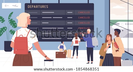 Passengers looking at schedule board with information about canceled flights in waiting hall of international airport. People disappointed with flight cancellation. Colorful flat vector illustration