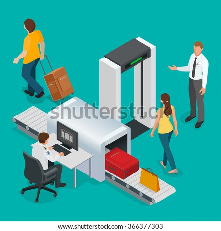 Passengers passes x-ray check at airport. Airport transport security scan tape portal. Officer computer monitoring baggage. Flat 3d vector isometric illustration