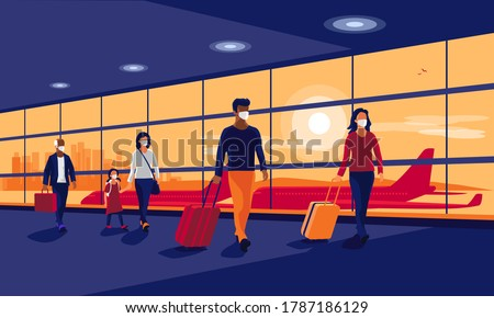 Passengers people traveler wearing face masks walking at airport gate terminal lounge traveling on holiday during pandemic outbreak. Airplanes behind glass window. New normal safe travel vacation.