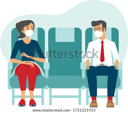 Passengers wearing protective medical masks travel by airplane. New seating regulations on flights. Travel during coronavirus COVID-19 disease outbreak. vector illustration Stockfoto ©