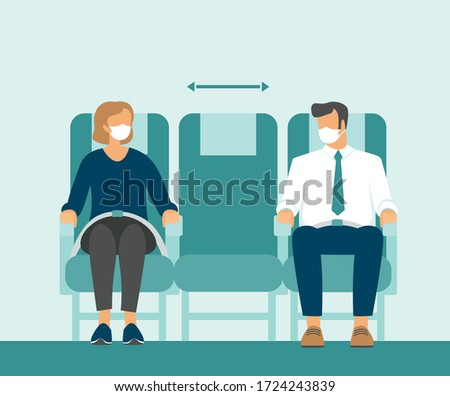 Passengers wearing protective medical masks traveling by airplane. New seating regulations on flights. Travel during coronavirus COVID-19 disease outbreak. vector illustration