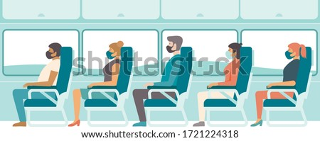 Passengers wearing protective medical masks travelling by bus or train.Travel during coronavirus COVID-19 disease outbreak. Concept flat vector illustration