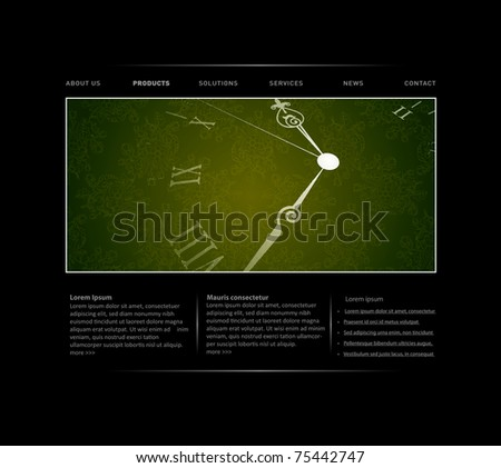 Passing time website template in editable vector format