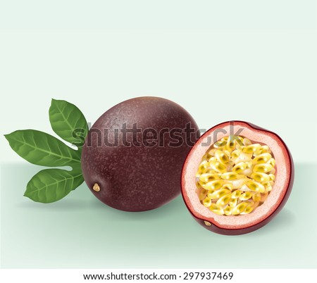 passion fruit and slicevector