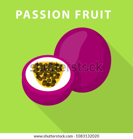 passion fruit icon flat