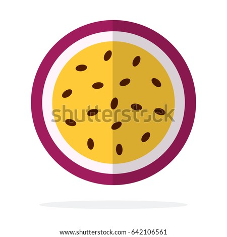 Passion fruit In section vector flat material design isolated on white