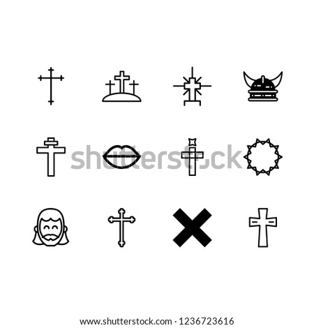passion icon set about crown of thorns, cross, crucifixion and jesus vector set
