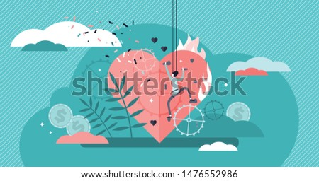 Passion vector illustration. Flat tiny enjoyment sport hobby persons concept. Abstract enthusiasm, satisfaction, pleasure and motivation activity for process admiration. Physical wall climbing leisure