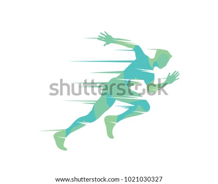 Passionate Fast Sprint Runner Symbol In Isolated White Background