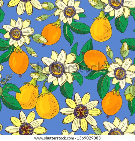 Passionflower(passiflora,passion fruit) on a blue  background.Floral seamless pattern.Big bright exotic Maracuja flowers,bud and leaf.Summer vector illustration for print  textile,fabric,wrapping.