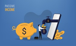 Passive income concept with businessman and his smartphone symbol. Coins come out from the phone vector illustration