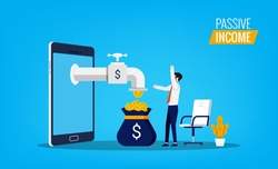 Passive income concept with man feels joy and happy while money flowing from smartphone symbol.