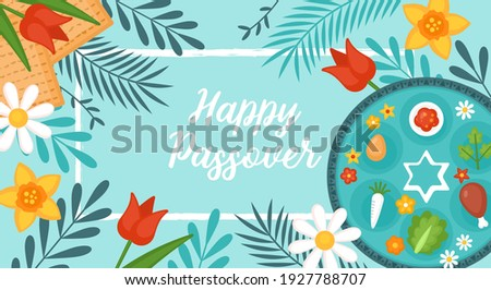 Passover Pesach holiday banner design with matzah, seder plate and spring flowers. Greeting card or seder party invitation template background Foto stock ©