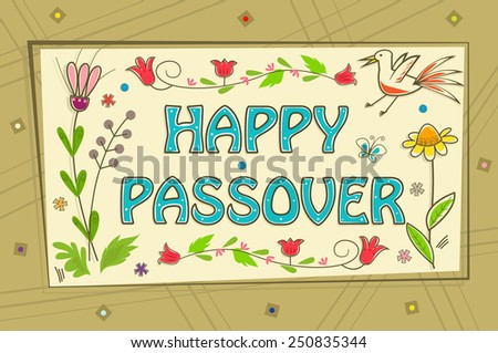 Passover Sign Floral banner with happy Passover text in the center and a decorative background Eps10