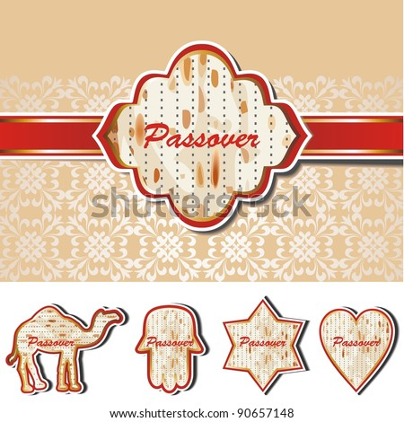 Passover Vector set of five matzoh symbols