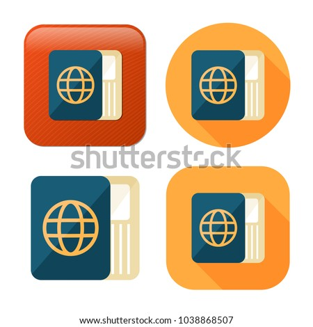passport and ticket icon - flight pass - airplane boarding sign - travel and tourism icon