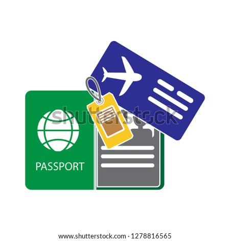 passport and ticket icon-flight vector-boarding symbol-airplane illustration-airline sign