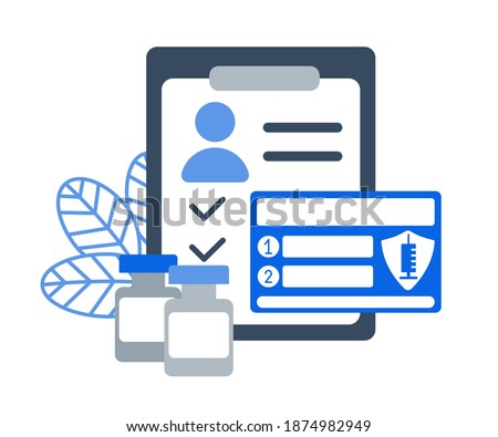 Passport card of recipient of coronavirus vaccine. Two-Dose Vaccination Covid-19. List of reminders for second injection. Repeated immunization. Bottles antivirus on schedule. Vector flat illustration