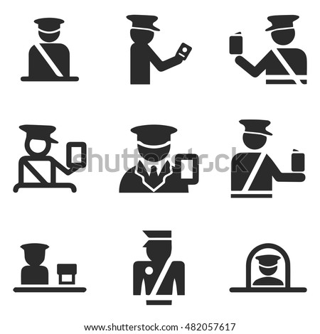 passport control officer vector