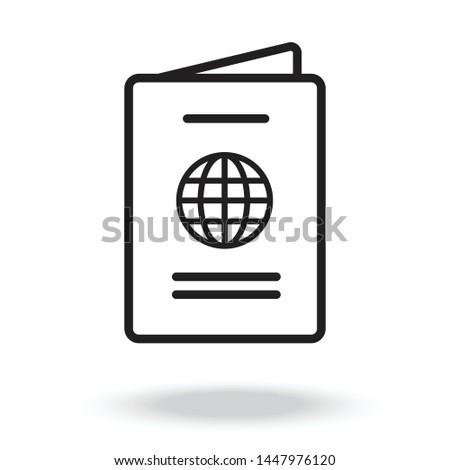 Passport icon vector illustration,Passport book flat icon