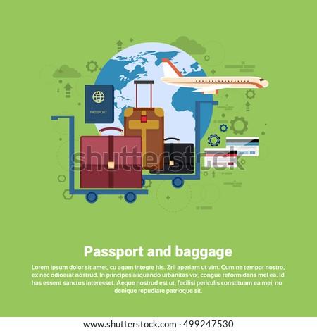 Passport Luggage Airplane Departure Transportation Air Tourism Web Banner Flat Vector Illustration