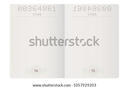 Passport pages. Blank paper pages. Vector 3d illustration