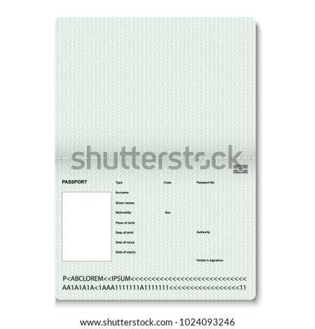 Passport pages. Vector illustration isolated on white background