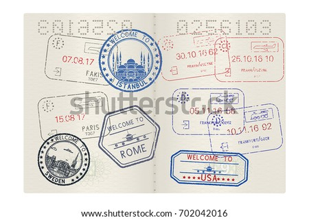Passport pages with tourist international stamps. Vector 3d illustration