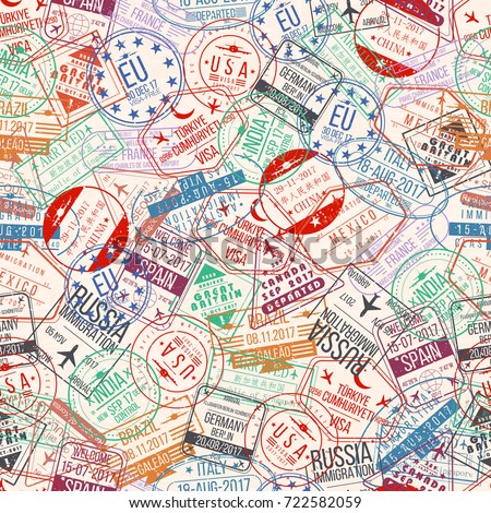 Passport stamp seamless pattern. International arrivals sign rubber, visa airport stamps and watermarks. Vector