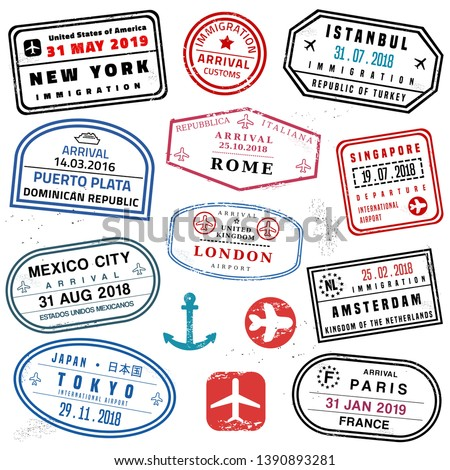 Passport stamp set - novelty vector passport stamps collection.
